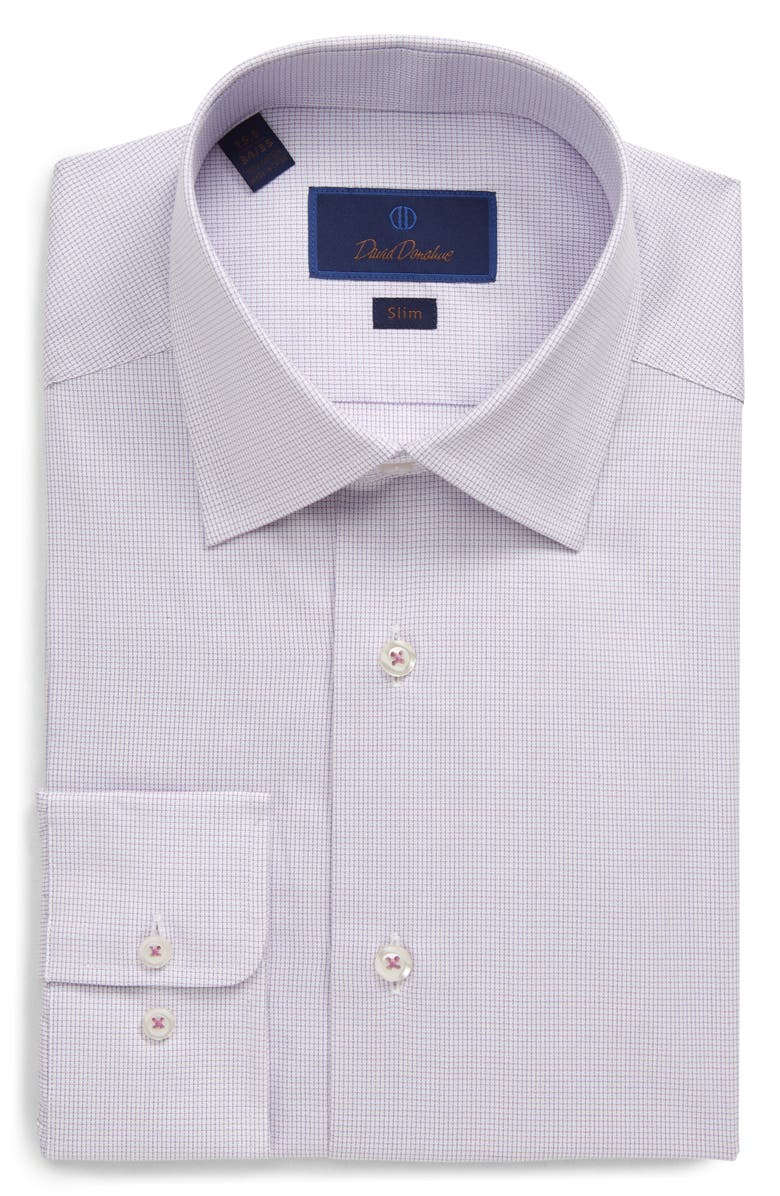 DAVID DONAHUE Slim Fit Micro Print Dress Shirt, Main, color, BERRY