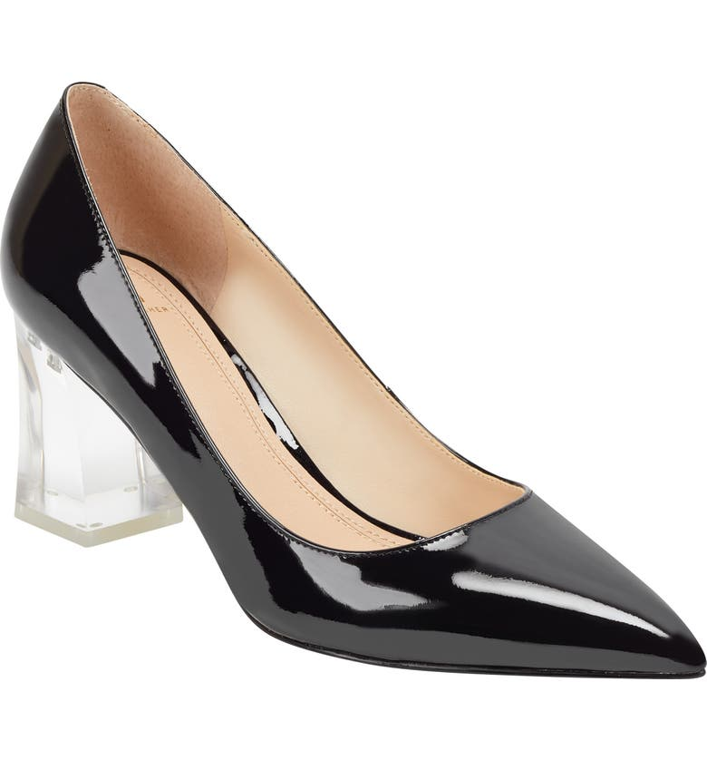 MARC FISHER LTD Zala Clear Heel Pump, Main, color, BLACK PATENT LEATHER