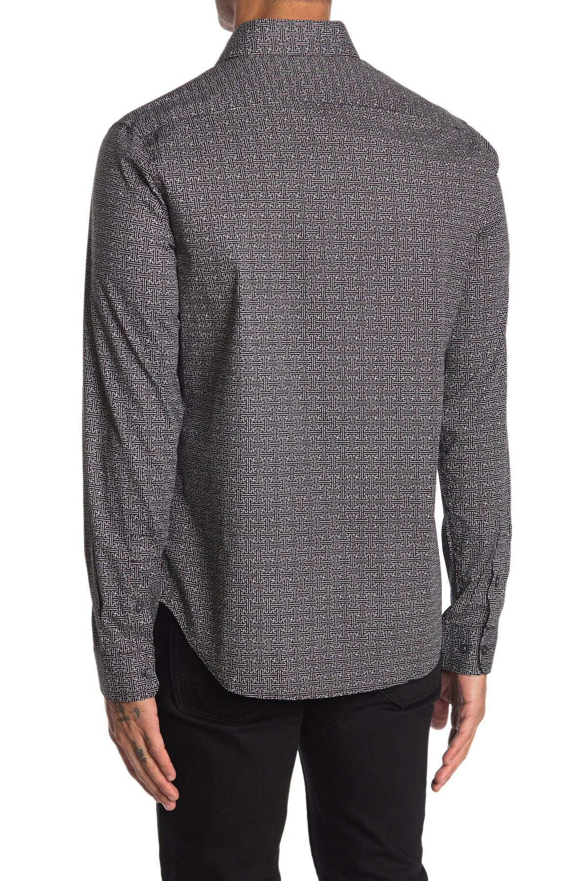Image of DKNY Maze Print Stretch Dress Shirt