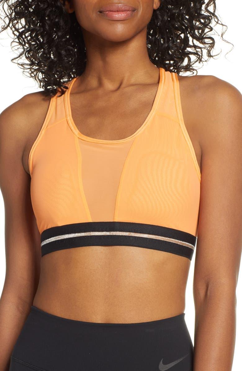 NIKE Dri-FIT Classic Mesh Sports Bra, Main, color, FUEL ORANGE/ BLACK