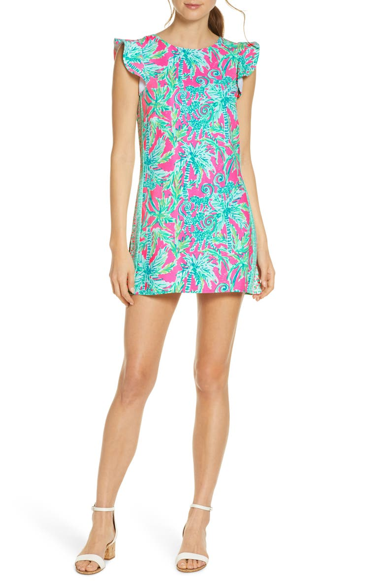 LILLY PULITZER<SUP>®</SUP> Adda Flutter Sleeve Romper, Main, color, 653