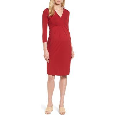 Isabella Oliver Gracia Surplice Maternity Dress, Red