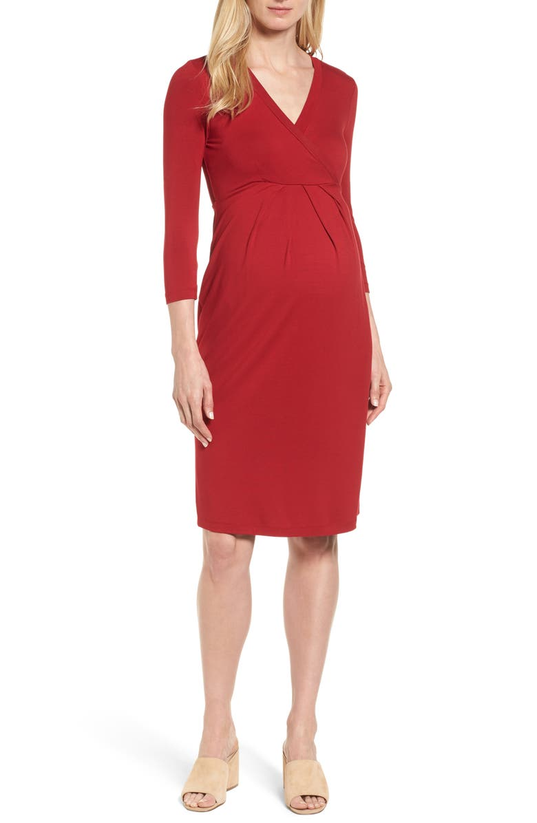 ISABELLA OLIVER Gracia Surplice Maternity Dress, Main, color, CARDAMOM RED