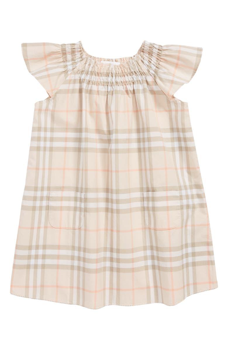 BURBERRY Vinya Shift Dress, Main, color, PALE PINK APRICOT IP