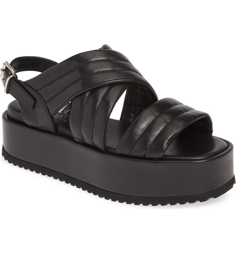 AGL Quilted Band Sport Sandal, Main, color, BLACK