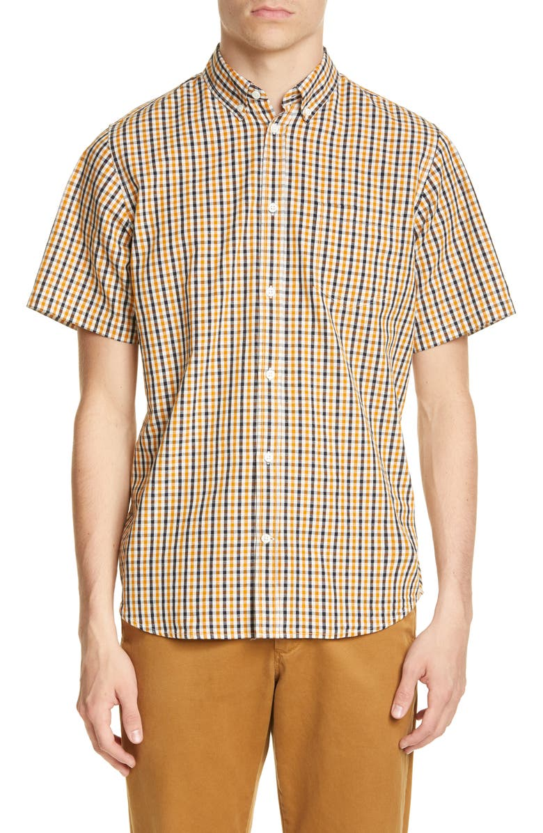 NORSE PROJECTS Osvald Check Short Sleeve Button-Down Shirt, Main, color, SUNWASHED YELLOW