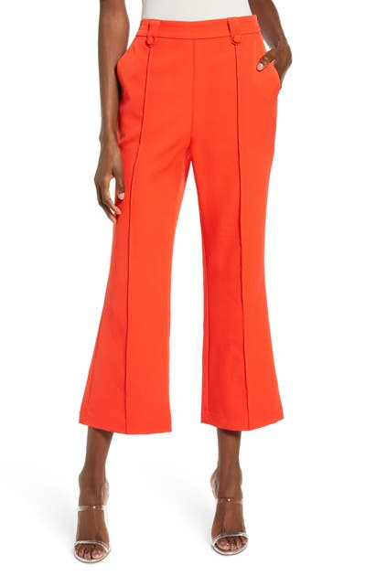 English Factory Button Detail Center Seam Flare Crop Trousers In Red