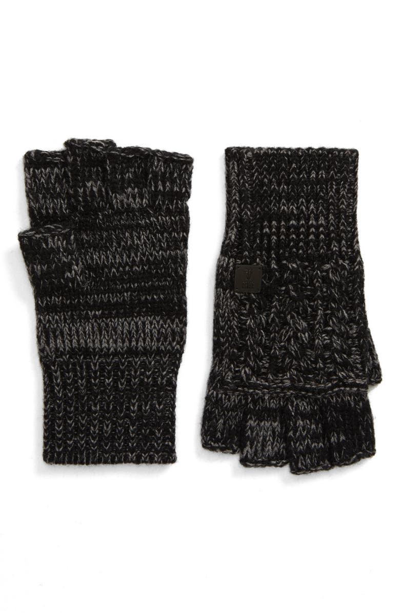 FRYE Marled Cable Fingerless Gloves, Main, color, BLACK