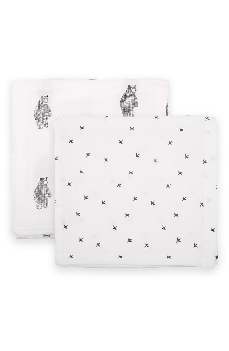 DONO & DONO 2-Pack Cuddle Blankets, Main, color, BIG BEAR/ MONO BIRDS