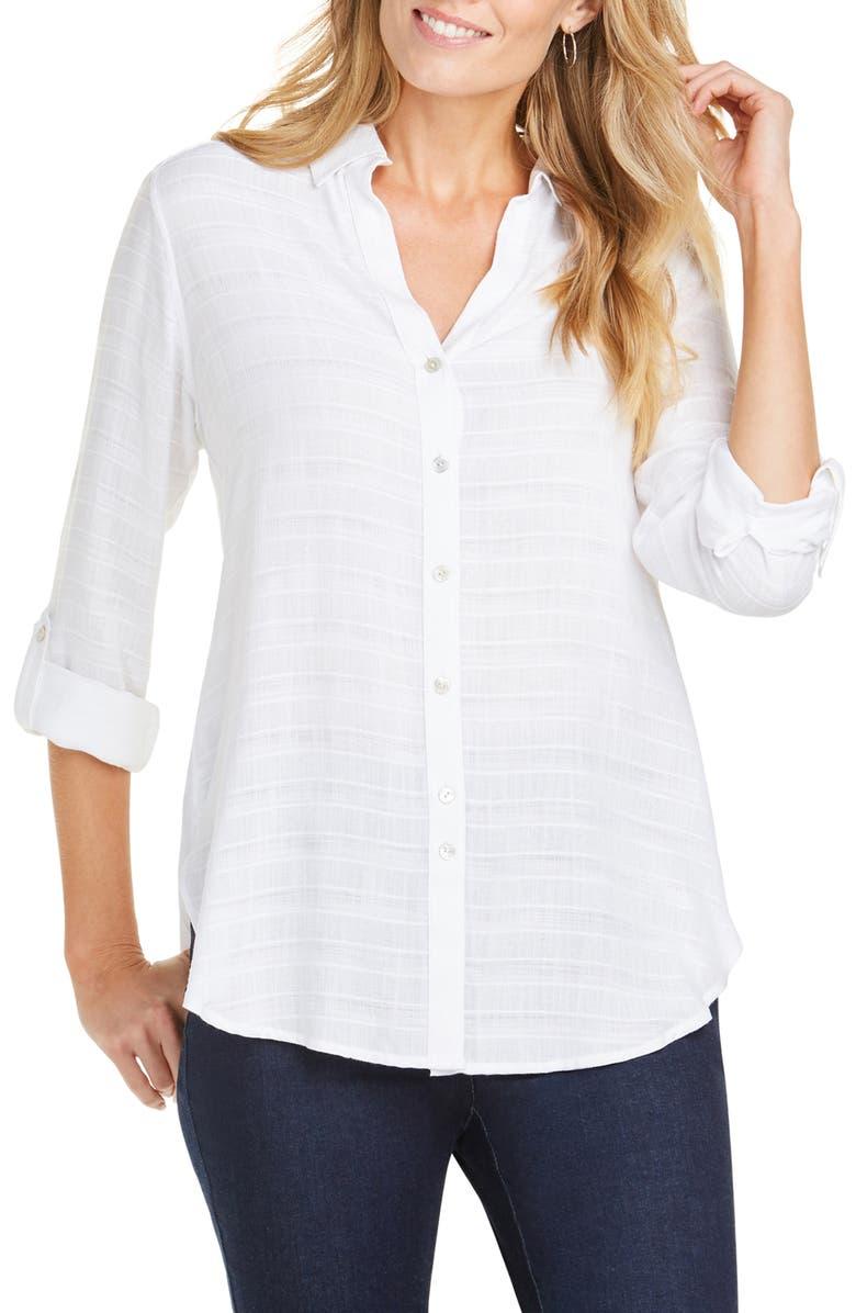 FOXCROFT Amber Dobby Stripe Tunic Shirt, Main, color, WHITE