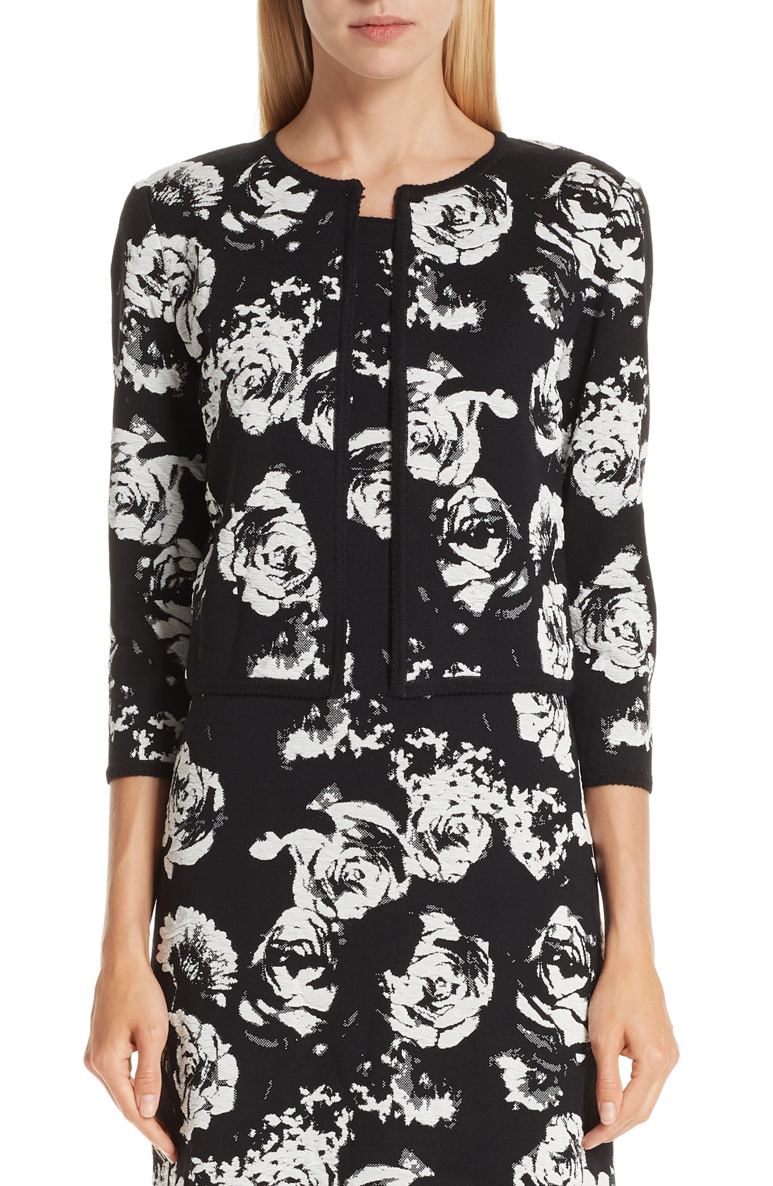 Floral Blister Knit Cardigan, Main, color, CAVIAR/ CREAM