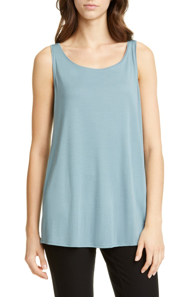 EILEEN FISHER Scoop Neck Tencel<sup>®</sup> Lyocell Tunic Tank, Main, color, BLUE STEEL