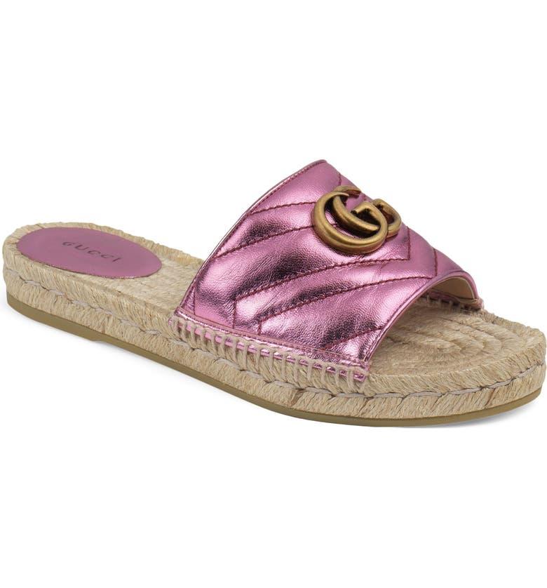 GUCCI Pilar Espadrille Slide Sandal, Main, color, PINK