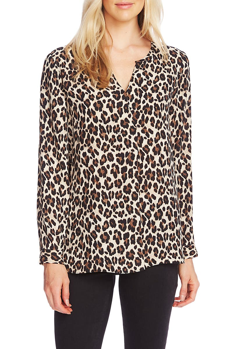 VINCE CAMUTO Split Neck Leopard Print Tunic Top, Main, color, RICH BLACK