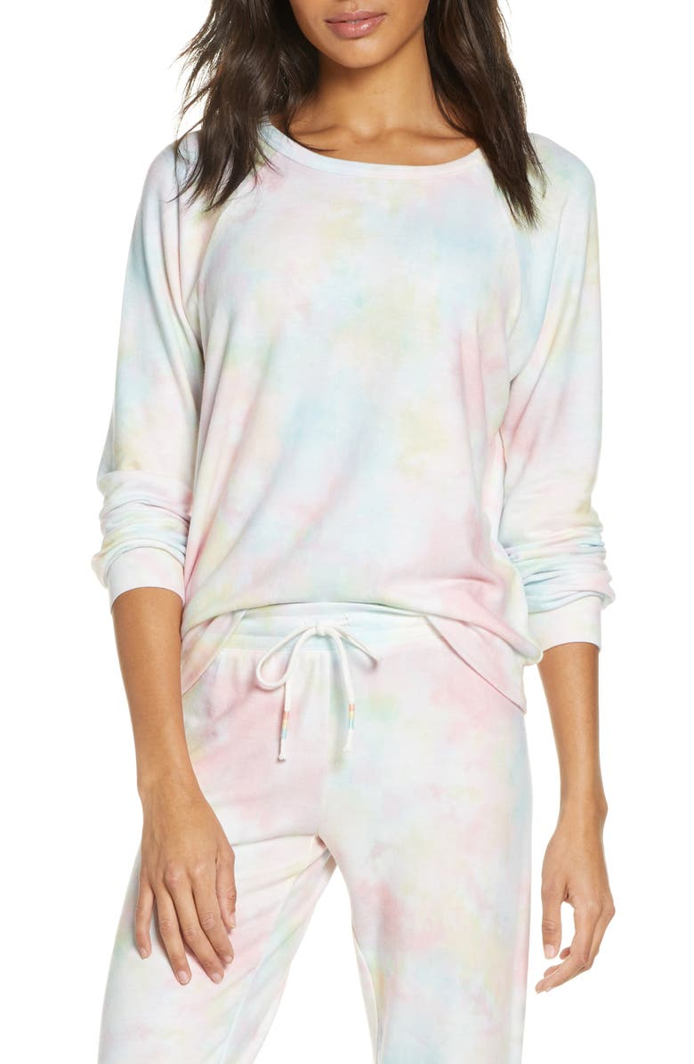 PJ SALVAGE Tie Dye Peached Jersey Sweatshirt, Main, color, 950