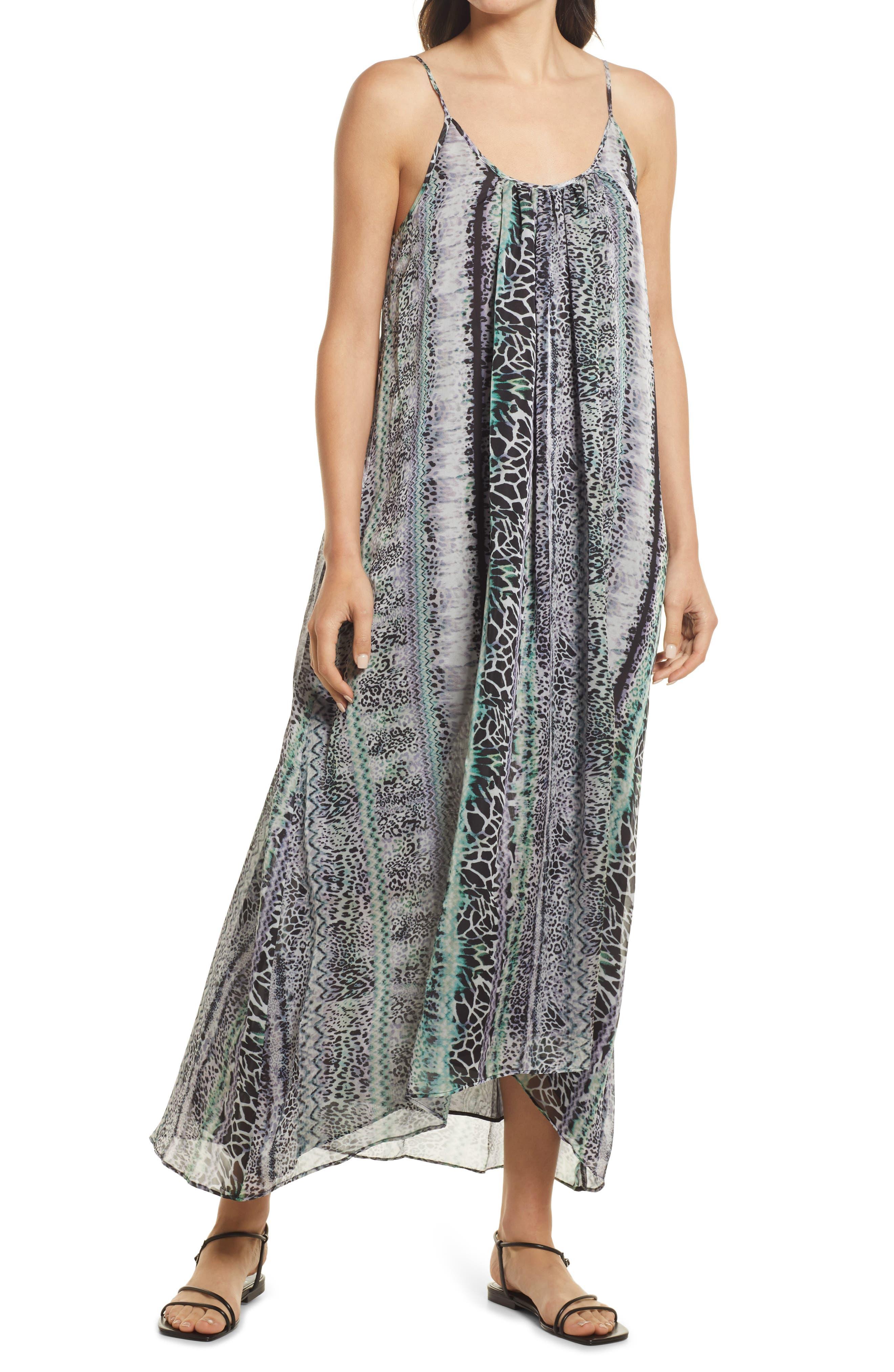 Animal Print Double Scoop Chiffon Maxi Dress