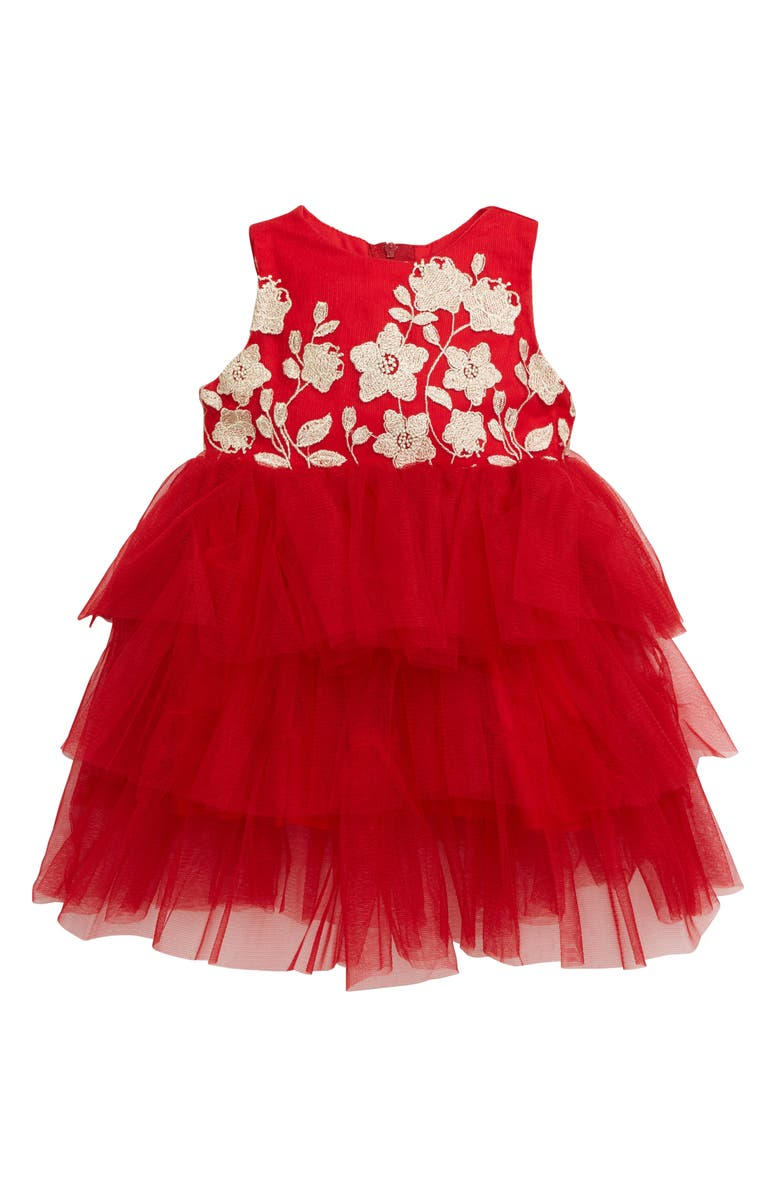 POPATU Embroidered Floral Tiered Tulle Dress, Main, color, RED