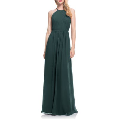 #levkoff Open Back Halter Neck Chiffon Gown, Green