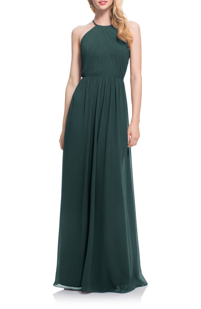 #LEVKOFF Open Back Halter Neck Chiffon Gown, Main, color, EVERGREEN