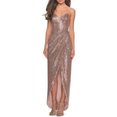 La Femme Sequin Strapless Ruched Gown, Pink