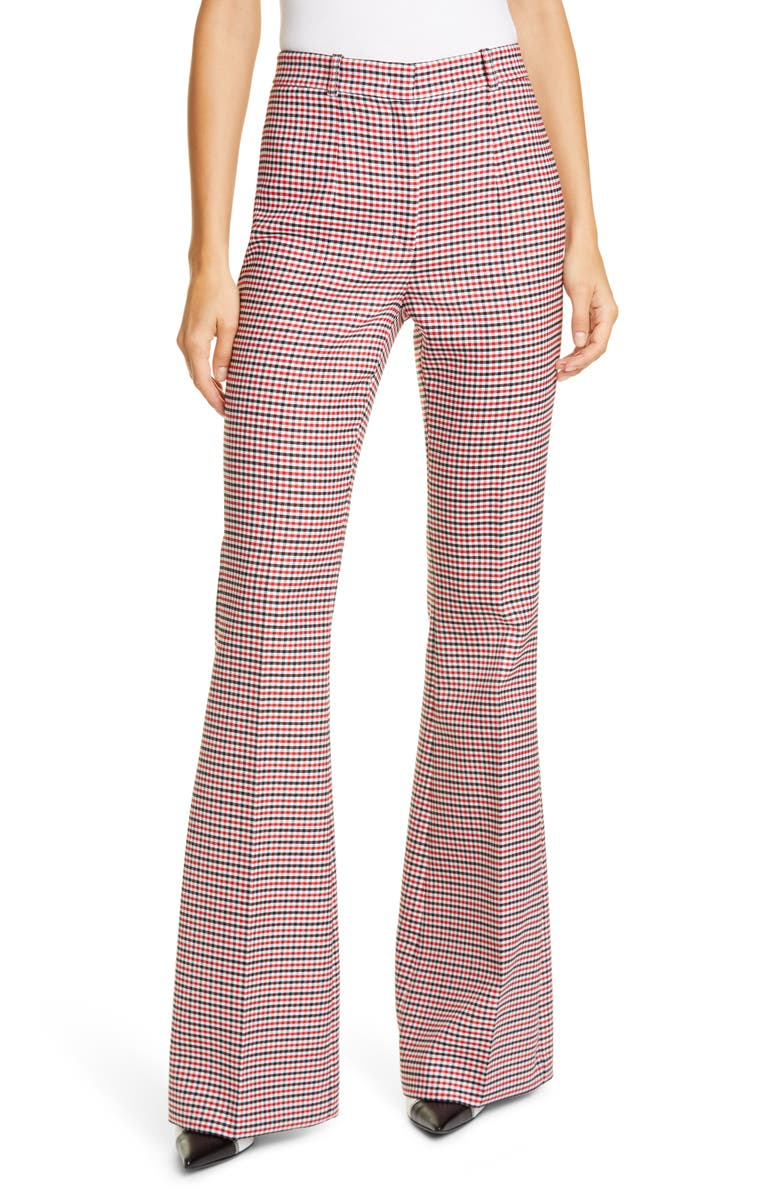 MICHAEL KORS COLLECTION High Waist Flare Leg Gabardine Pants, Main, color, CRIMSON MULTI