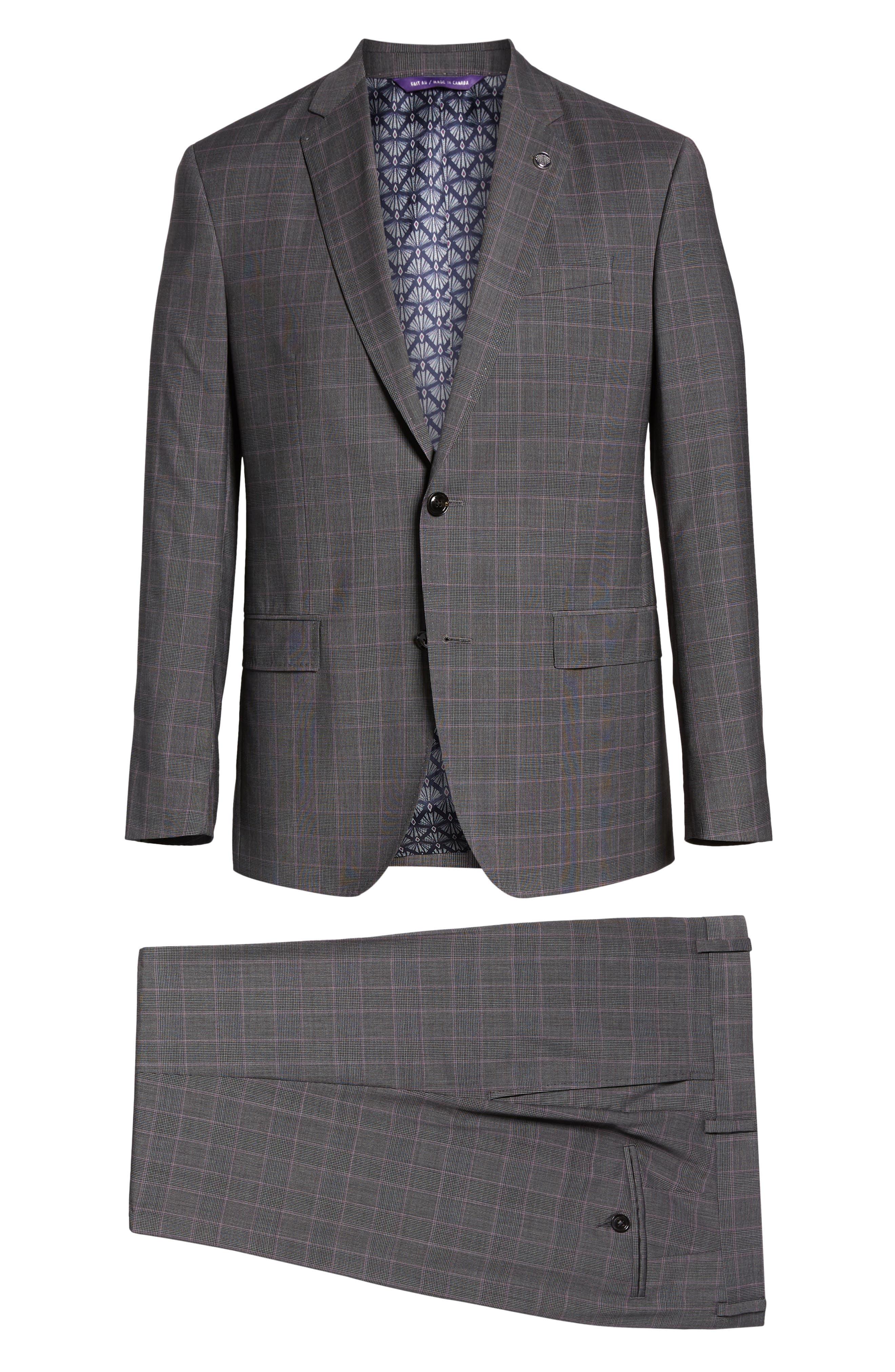 ,                             Jay Trim Fit Plaid Wool Suit,                             Alternate thumbnail 8, color,                             020