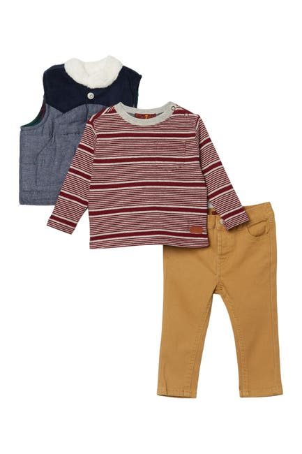 Image of 7 For All Mankind Long Sleeve Tee, Vest, & Pants Set