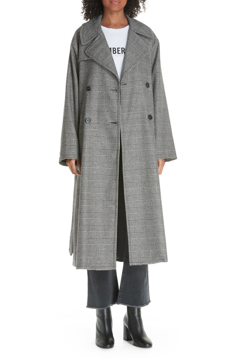 NILI LOTAN Topher Plaid Wool Blend Coat, Main, color, 010