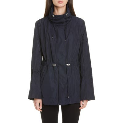 Moncler Drawstring Waist Short Jacket, (fits like 6-8 US) - Blue