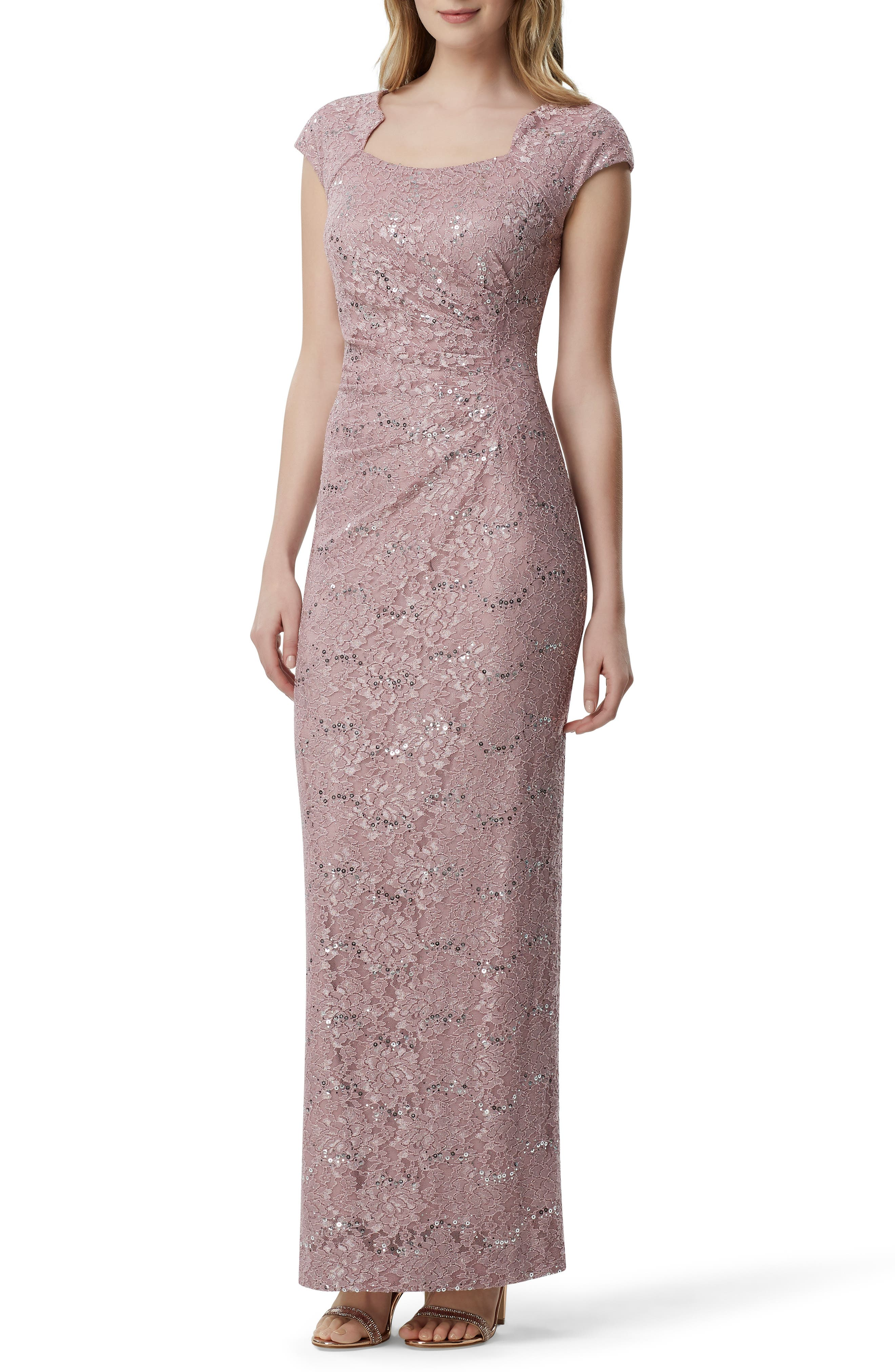 Tahari Sequin Embellished Evening Gown, Pink