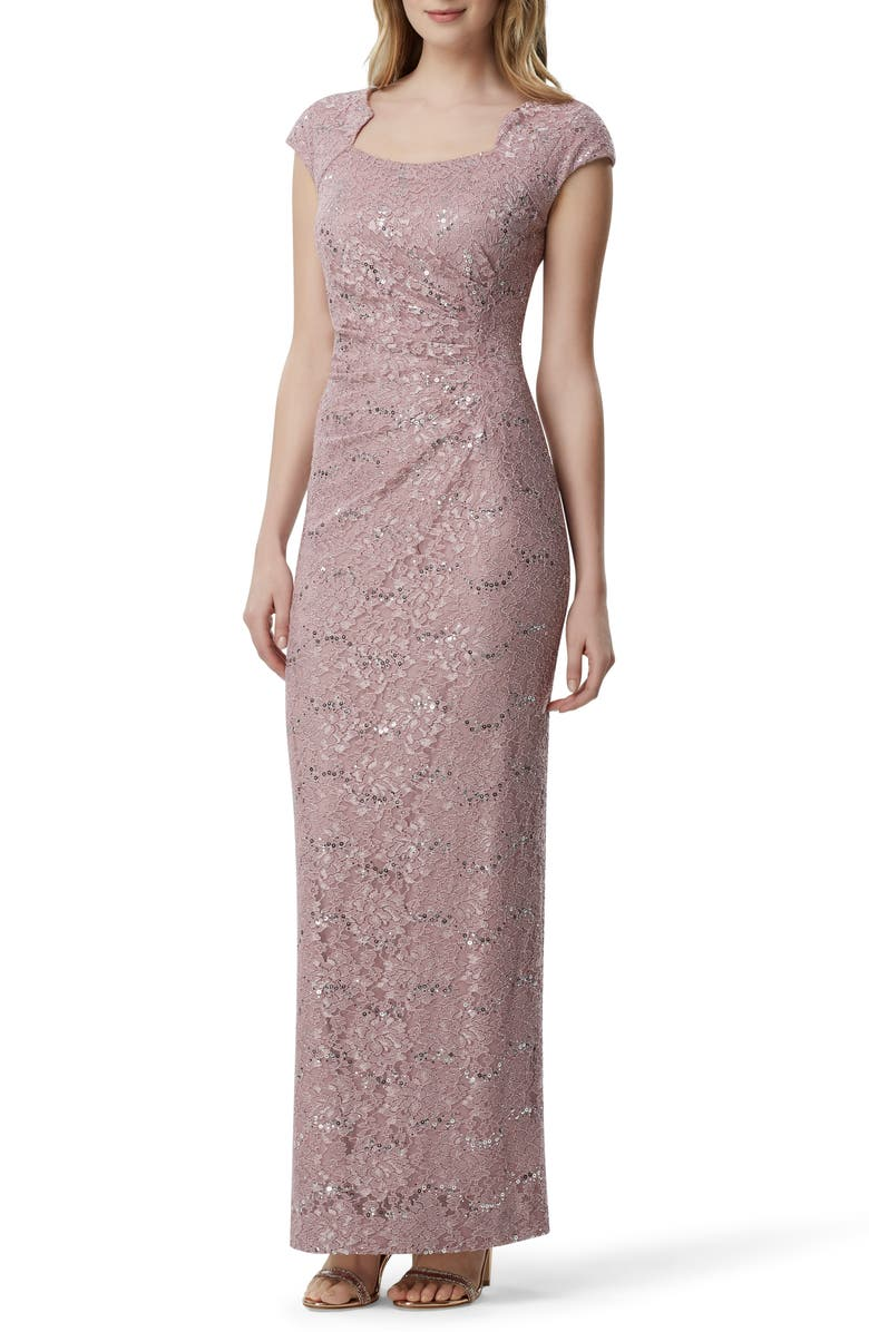 TAHARI Sequin Embellished Evening Gown, Main, color, MAUVE