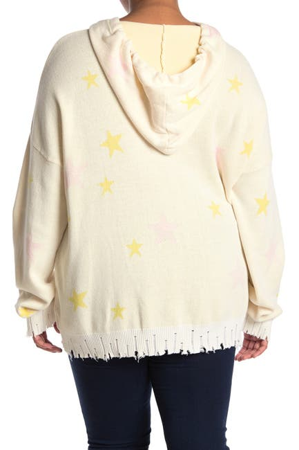 Image of Fate Star Print Distressed Hooded Sweater