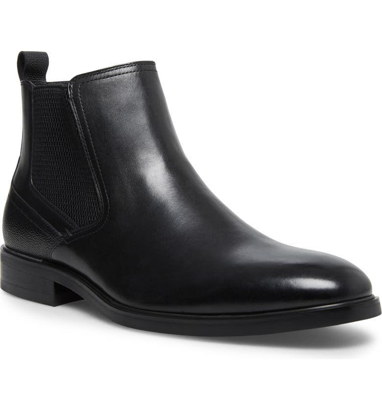 STEVE MADDEN Afinity Chelsea Boot, Main, color, BLACK LEATHER