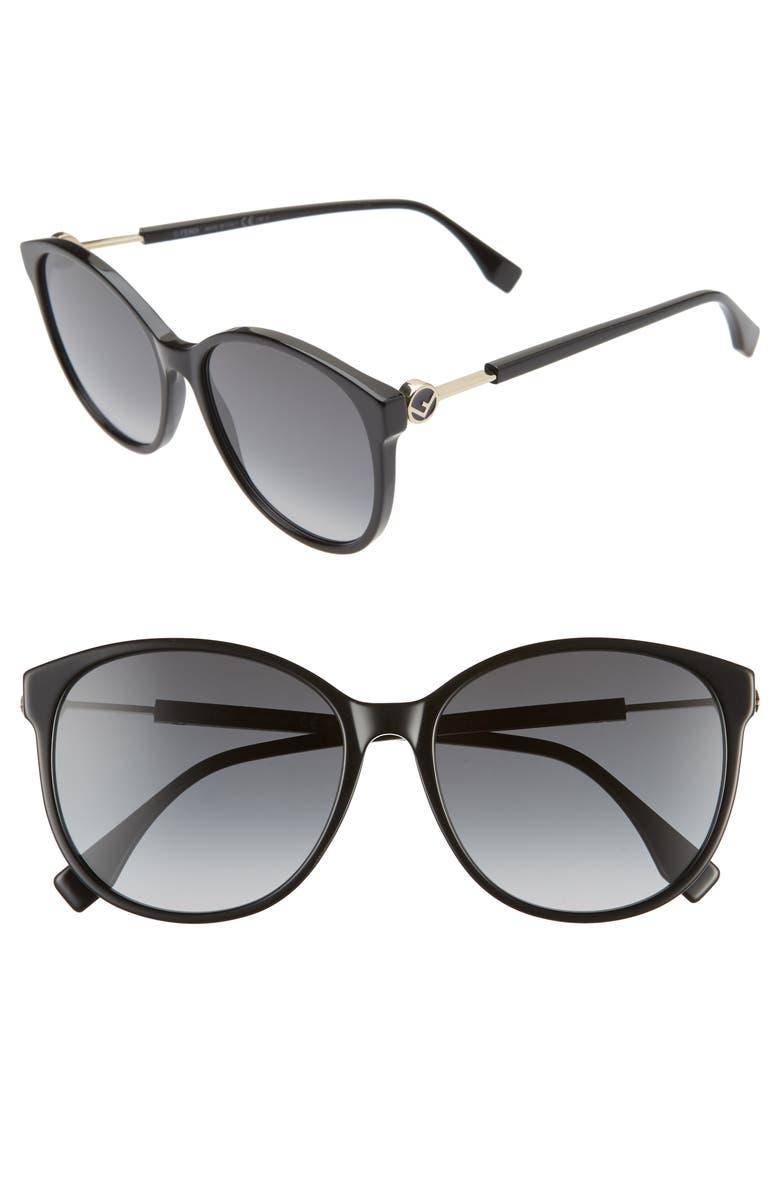 FENDI 58mm Gradient Cat Eye Sunglasses, Main, color, 001