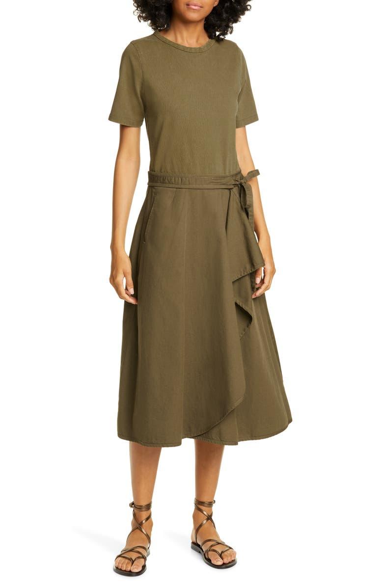 SEA Scout Ruffle Midi Dress, Main, color, OLIVE