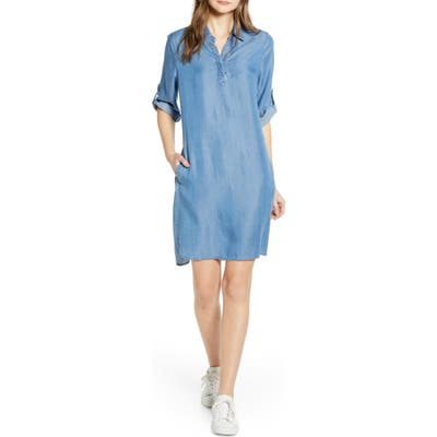 Beachlunchlounge Emelia Collared A-Line Dress, Blue