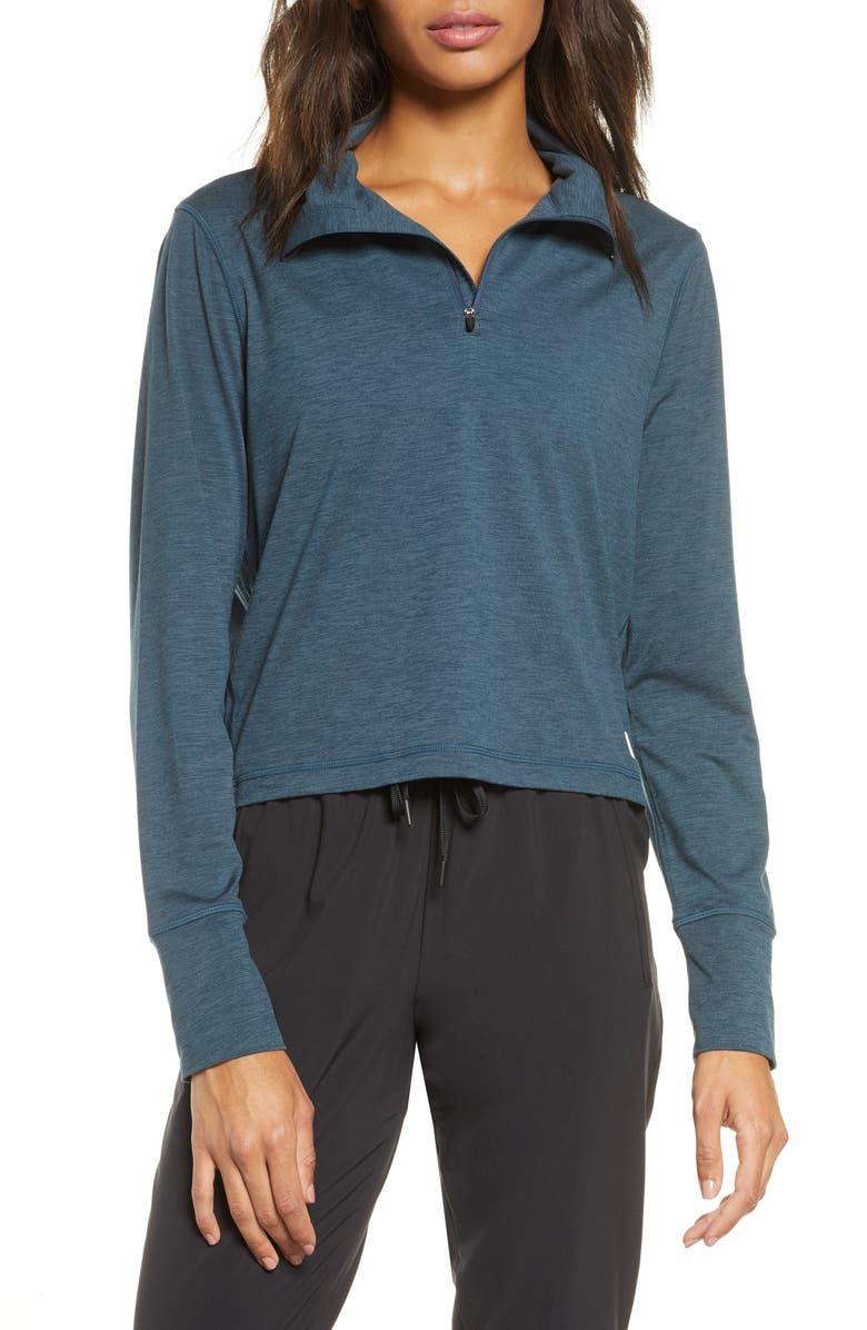 VUORI Crescent Performance Half-Zip Crop Pullover, Main, color, INDIGO HEATHER