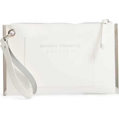 Sondra Roberts Metal Frame Faux Leather Wristlet - White