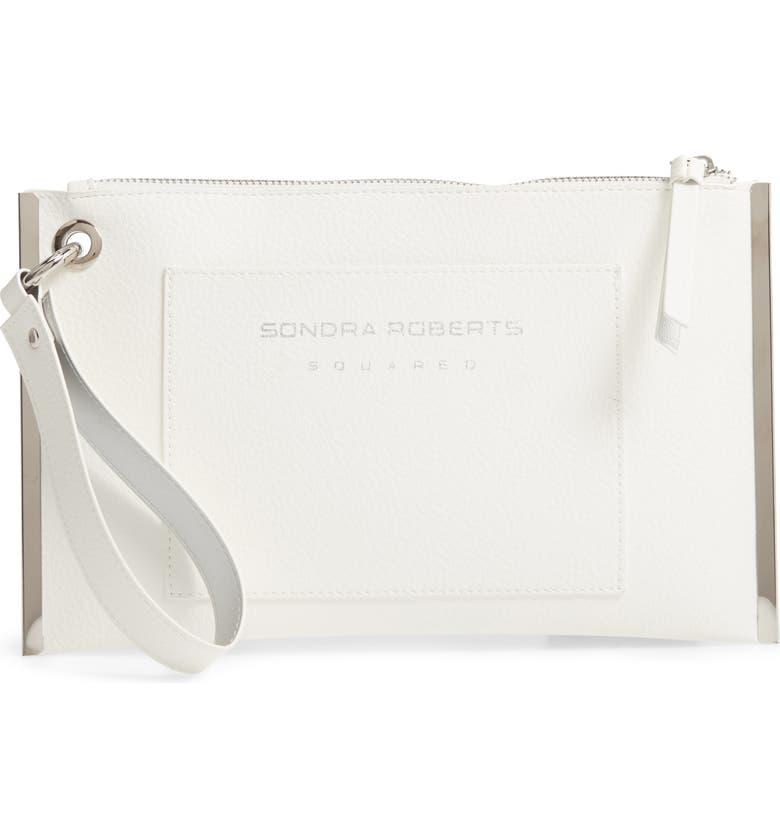 SONDRA ROBERTS Metal Frame Faux Leather Wristlet, Main, color, WHITE