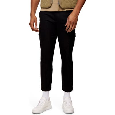 Topman Classic Fit Crop Twill Cargo Pants, Black