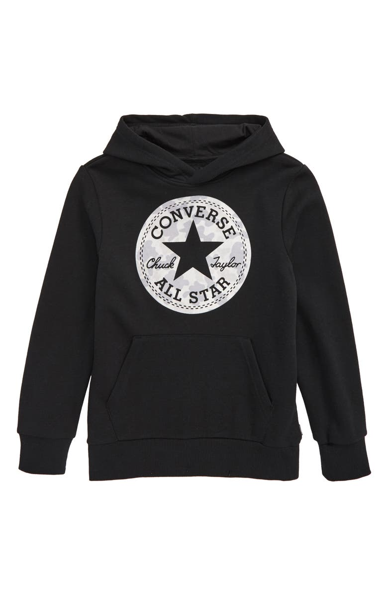 CONVERSE Chuck Taylor<sup>®</sup> All Star<sup>®</sup> Camo Fleece Hoodie, Main, color, BLACK