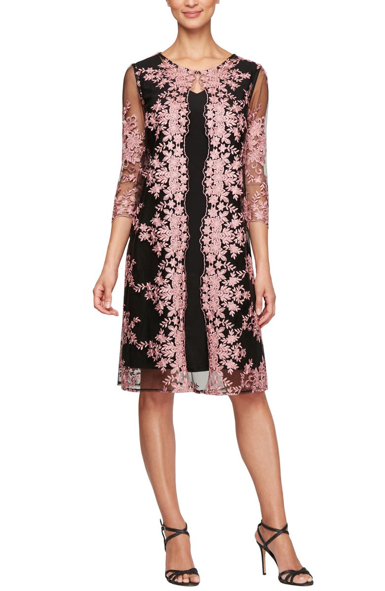 ALEX EVENINGS Embroidered Chiffon Overlay Cocktail Dress, Main, color, BLACK/ CORAL