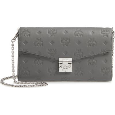 Mcm Millie Medium Calfskin Leather Wallet On A Chain - Grey