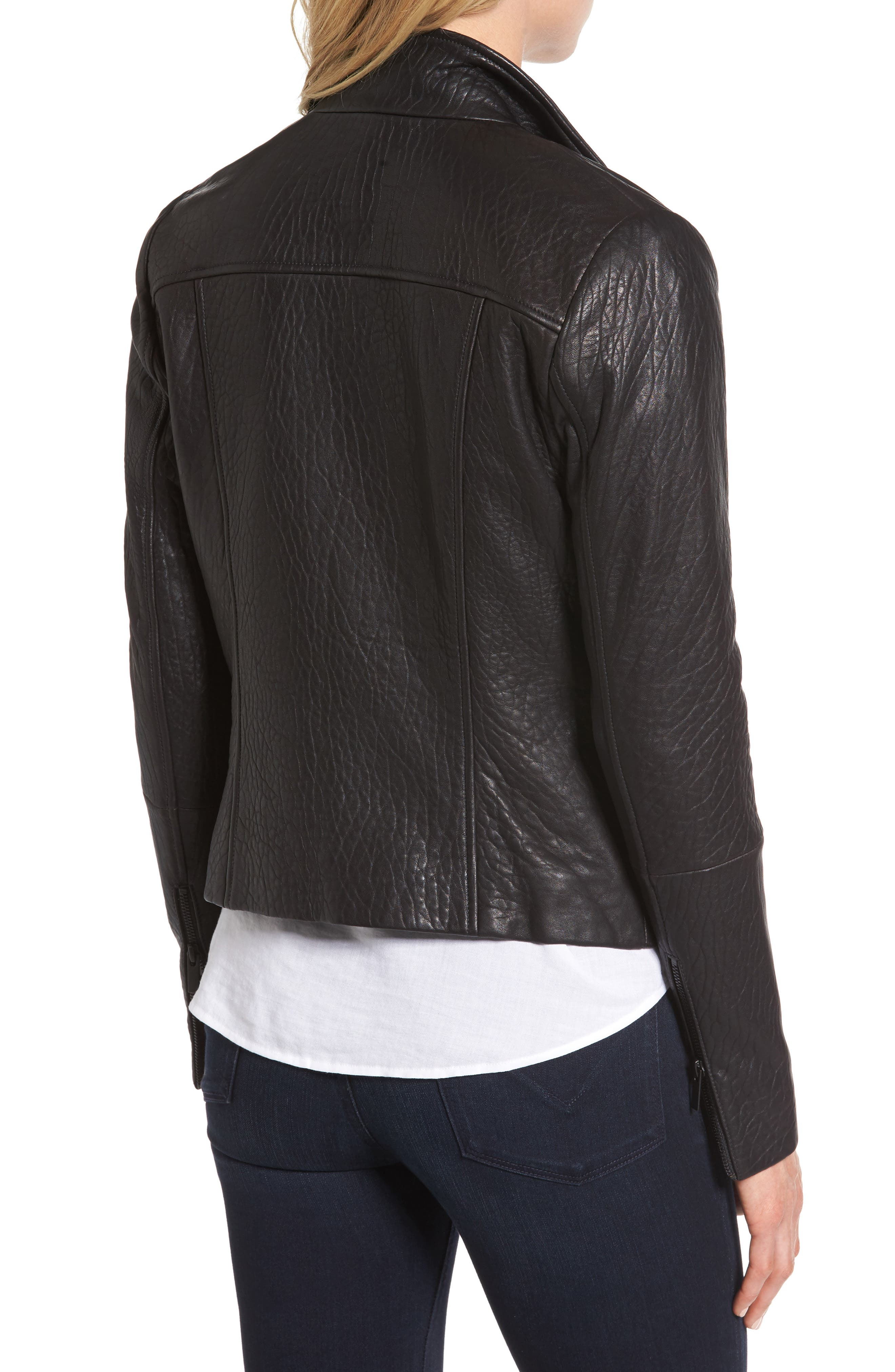 ,                             Leather Jacket,                             Alternate thumbnail 2, color,                             001