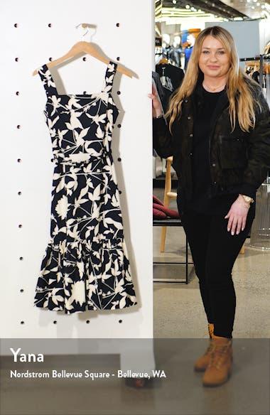 Ruffle Hem Floral Stretch Twill Midi Dress, sales video thumbnail