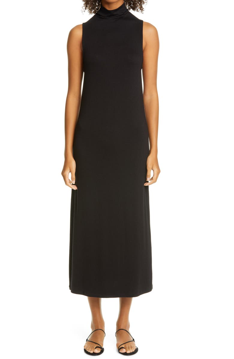 VINCE Mock Neck Sleeveless Midi Dress, Main, color, 001