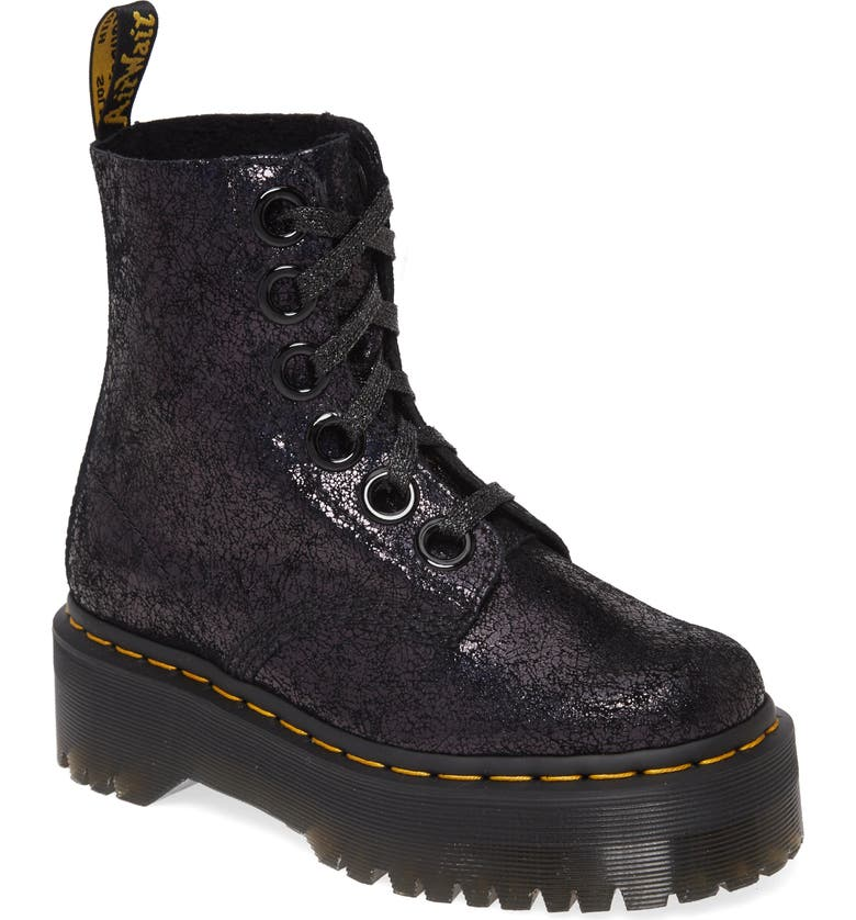 DR. MARTENS Molly Crackle Boot, Main, color, BLACK IRIDESCENT CRACKLE