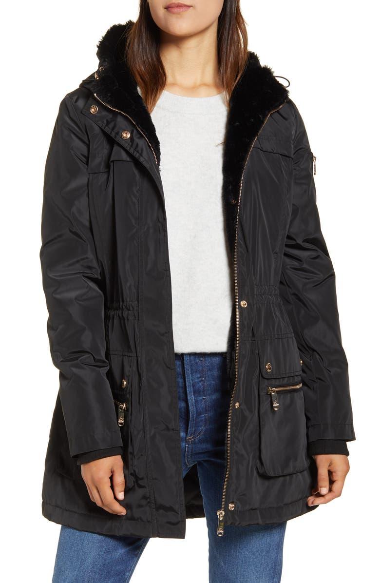SAM EDELMAN Fleece Lined Hooded Jacket, Main, color, BLACK