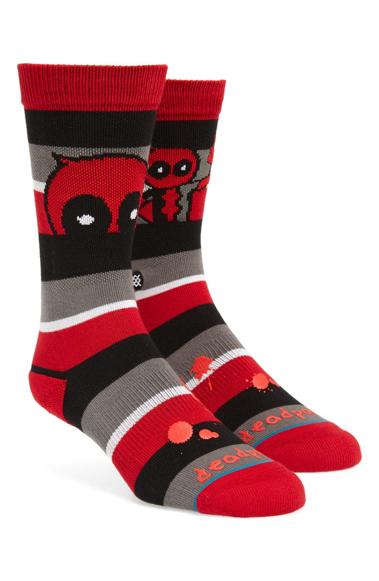 STANCE Deadpool Stripe Socks, Main, color, RED