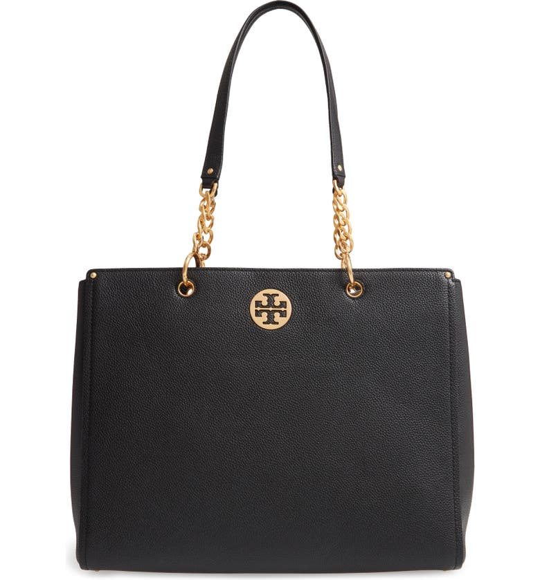 TORY BURCH Everly Leather Tote, Main, color, 001